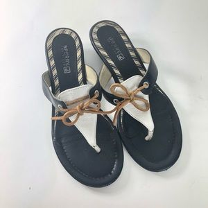 Sperry Top Sider Sz 7M Black White Leather Sandals